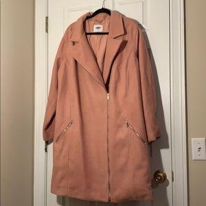 Light Pink Wool Moto Pea Coat Old Navy 4x